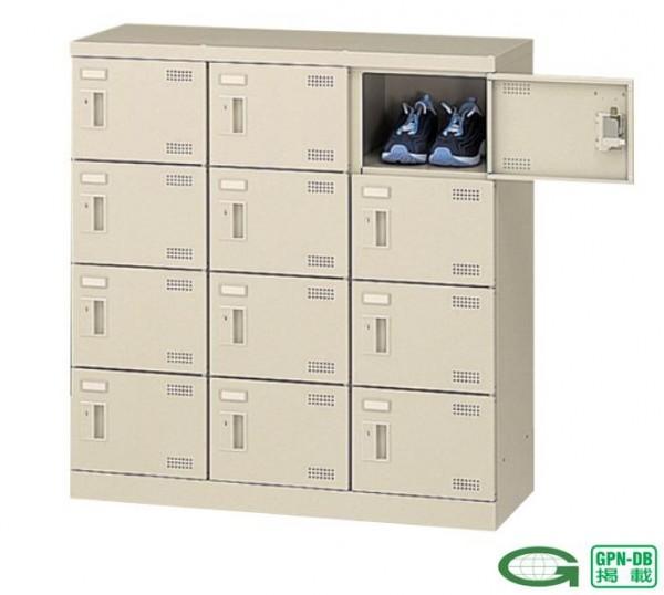 オフィスシューズボックス 国産品 良質 スリッパ棚付き 3列4段12人用