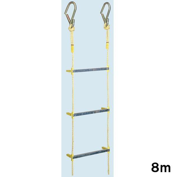 避難縄はしご 縄はしご ロープ 非常用縄はしご ワイヤー入り縄はしご 8m