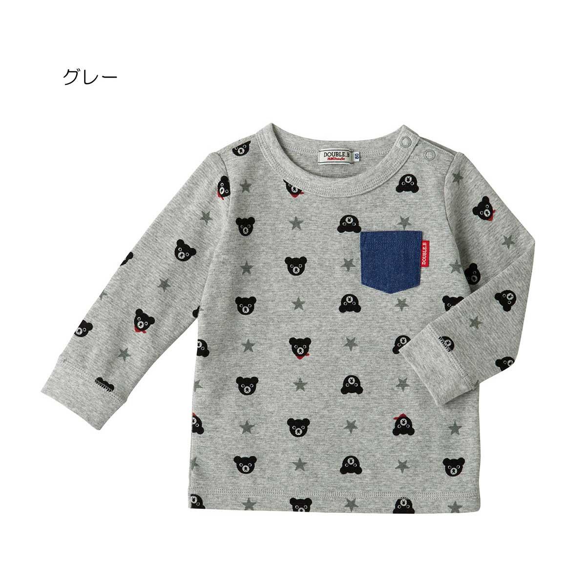 【海外販売専用】ダブルビー デニムポケット付き総柄長袖Tシャツ DOUBLE_B (80cm・90cm・100cm)【63-5201-261】 CPN