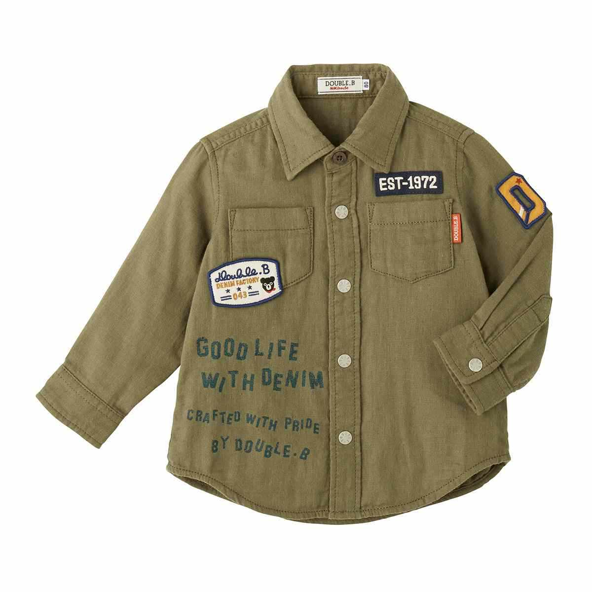 ダブルB DOUBLE_Bダブルガーゼ素材のミリタリーシャツ (110-150cm)63-5301-260