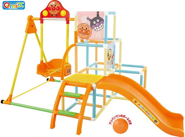 【送料無料】アンパンマン うちの子天才 ブランコパークDX(室内 ジャングルジム すべり台)