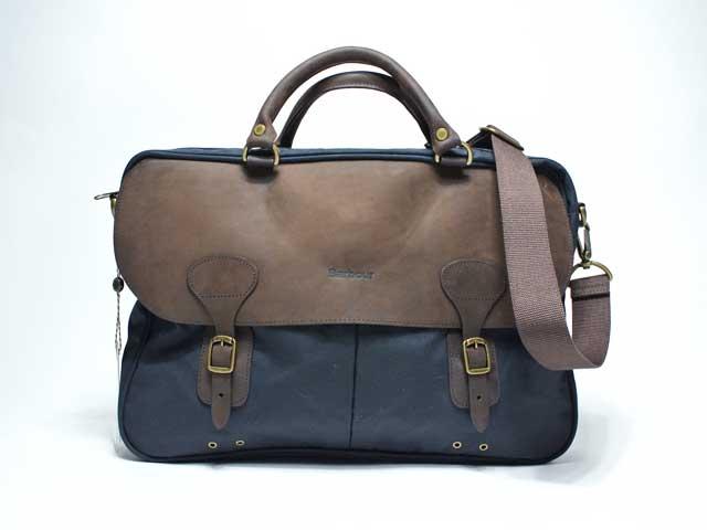 【BARBOUR/バブアー】Wax Leather Briefcase・オイルドレザーブリーフケース/ショルダーバッグ/ネイビー (レアアイテム・国内未発売!)