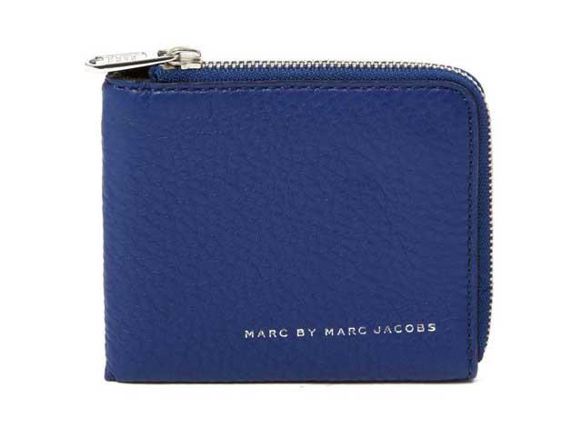 【MARC BY MARC JACOBS/マークバイマークジェイコブス】Half Zip Card Holder・ジップ付きハーフレザーウォレット/スキッパーブルー (2014秋モデルデッドストック(新品)・財布・小銭入れ付き)