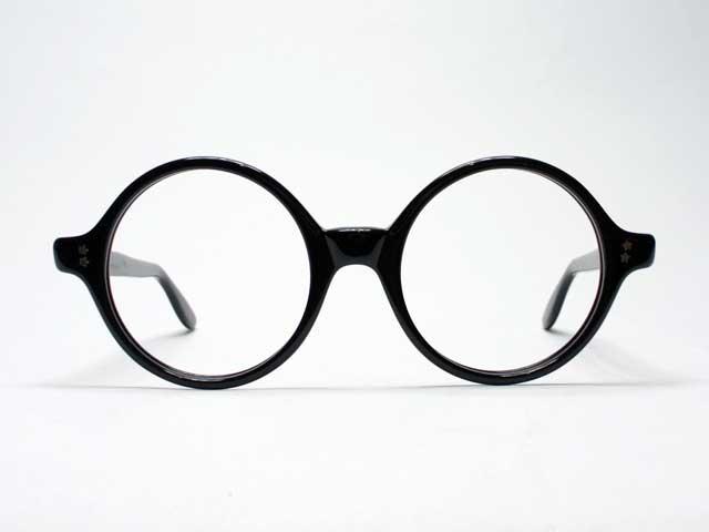 Vintage【Swan Optical / スワンオプティカル】1950s・ラウンドホーンリム・ブラック・デッドストック/46□20 (1950年代NYヴィンテージアイウェア・丸眼鏡・セルフレーム・[新古品])
