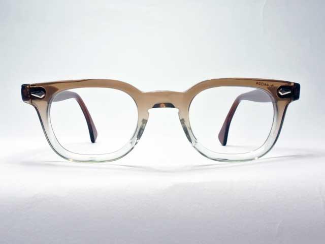 Vintage【American Optical/アメリカン・オプティカル】ホーンリム「STADIUM/スタジアム」・2toneクリアブラウン・デッドストック/44□24 (ウェリントンタイプ・セルフレーム・[新古品])