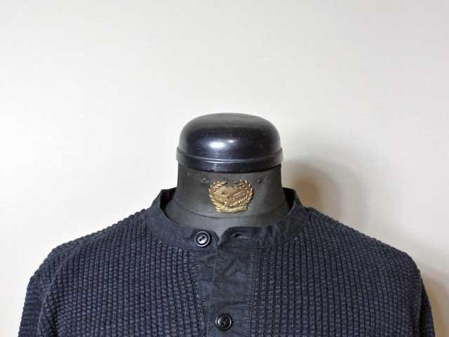 【RRL&CO./ダブルアールエル】2019SS Dead Stock/Cotton-Linen Henley Sweater/コットンリネン×オイルドコットン・ヘンリーネック・ワッフルセーター/ブラックインディゴ染め (ヴィンテージ・ミリタリー)