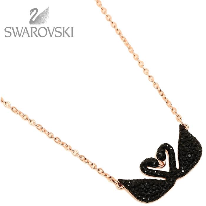 スワロフスキー SWAROVSKI ネックレス レディース ペンダント アクセサリー スワン ブラック ローズゴールド 5296468