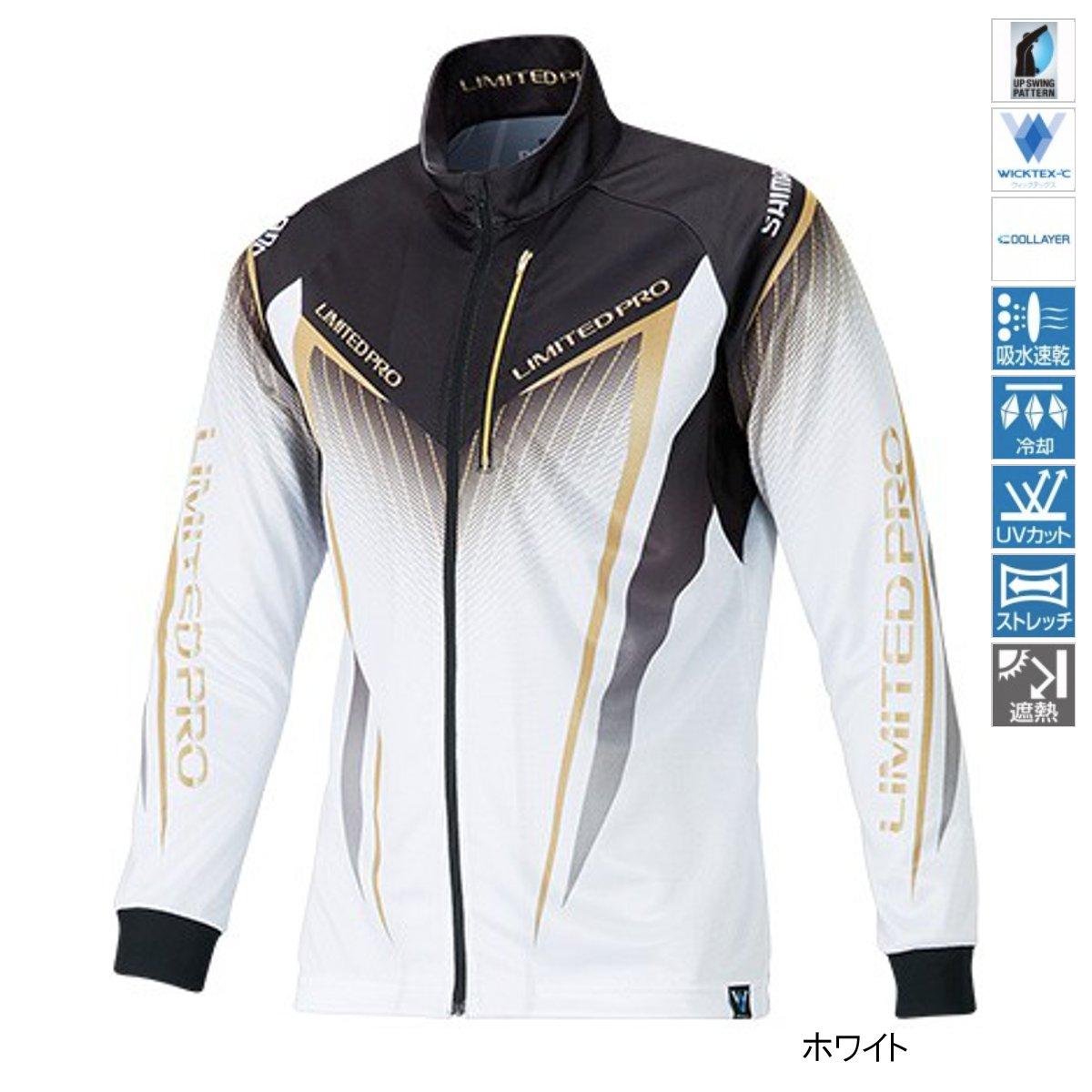 【4/1 24時間限定!エントリーで最大P31倍】シマノ フルジップシャツLIMITED PRO(長袖) SH-011S M ホワイト(東日本店)