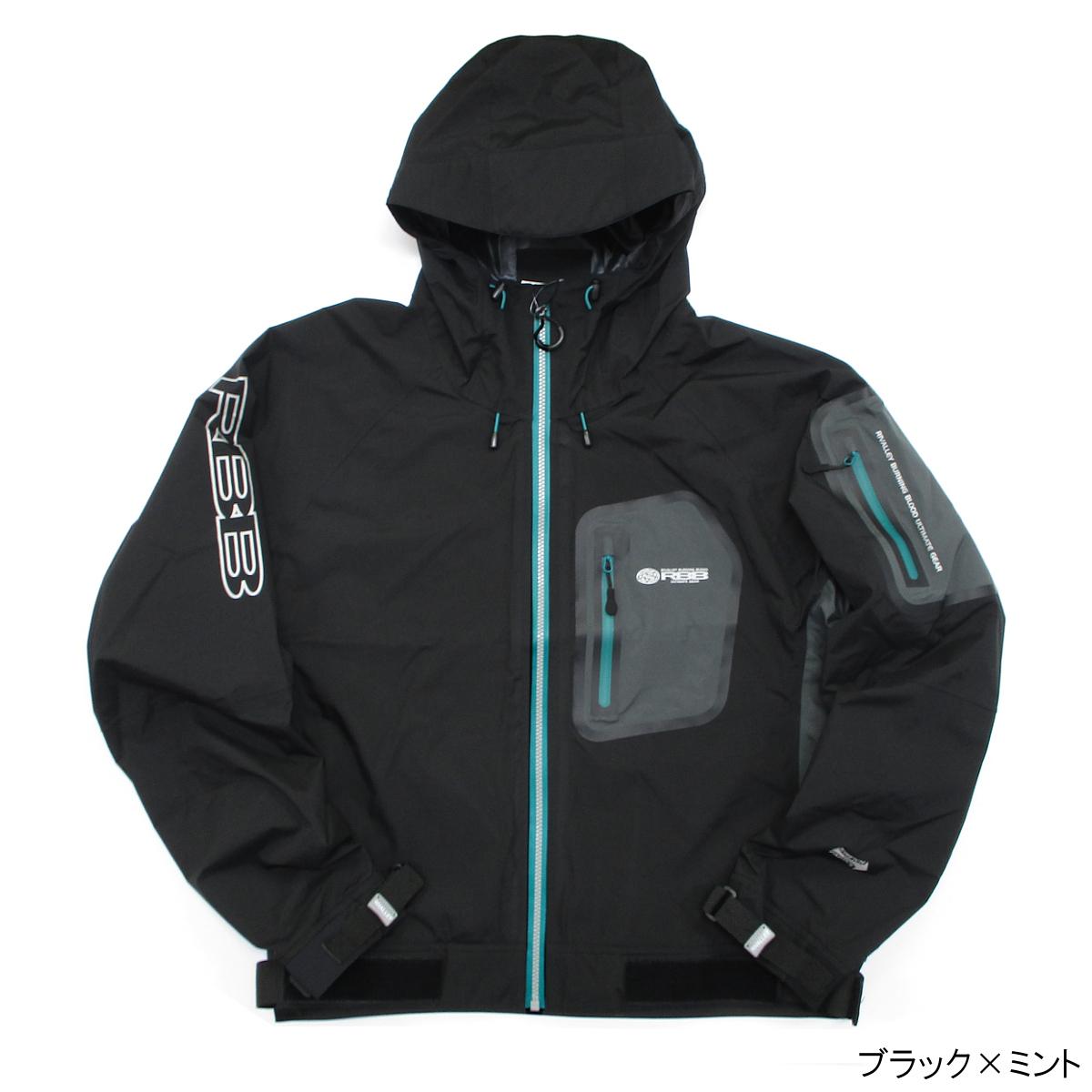 RBB タイドストレッチレインジャケット No.8746 M ブラック×ミント(東日本店)