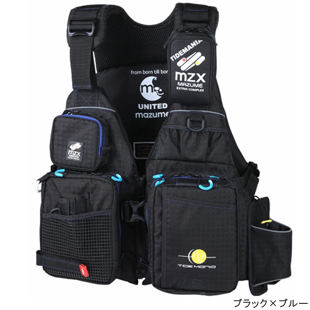 オレンジブルー mazume MZX タイドマニアライフジャケット MZXLJ-049 フリー ブラック×ブルー(東日本店)