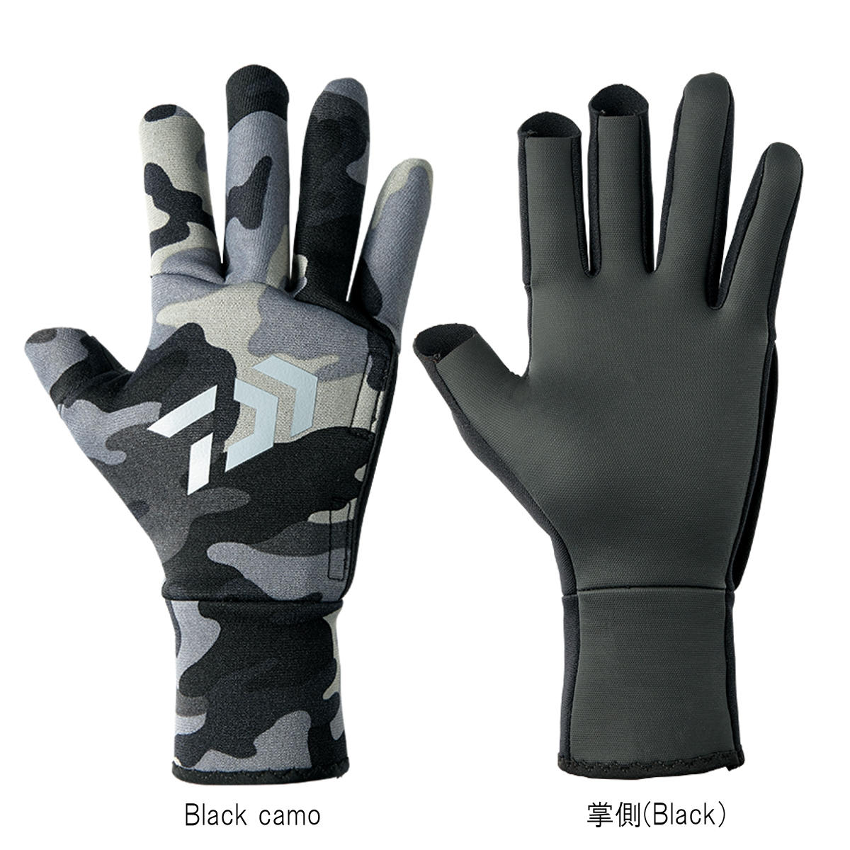 Daiwa chloroprene glove three cut DG-7107W L Black camo