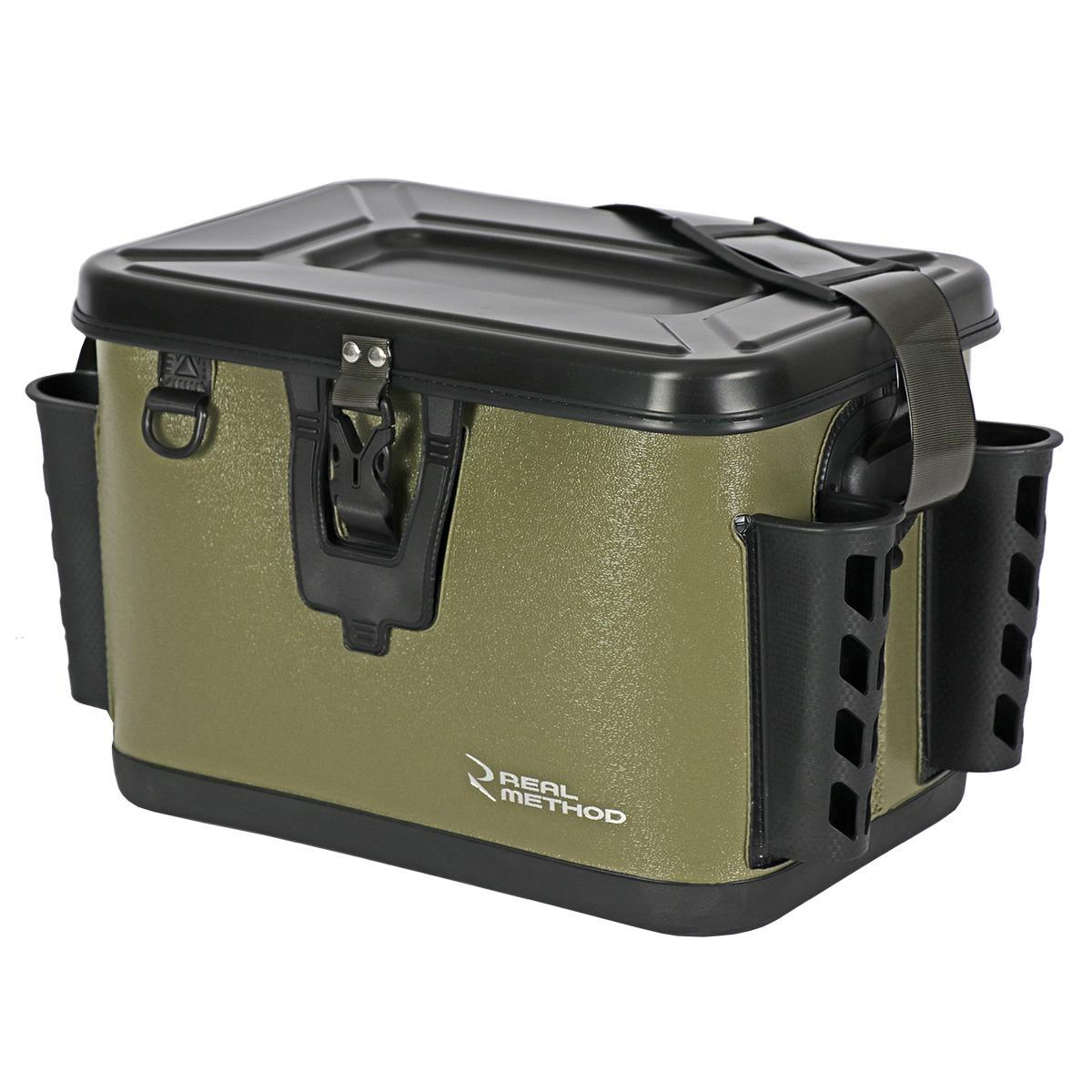 釣具のポイント メーカー公式 リアルメソッド ロッドホルダー 付 EVAタックルバッグ METHOD アーミーグリーン REAL 36cm 贈物