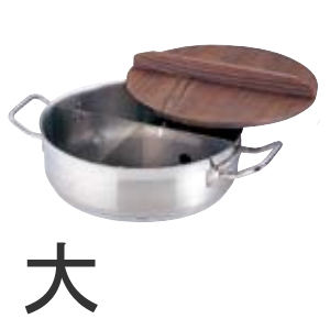 【代引不可】21-0ステンレス TKGプロ 電磁用丸型おでん鍋 大 木蓋付