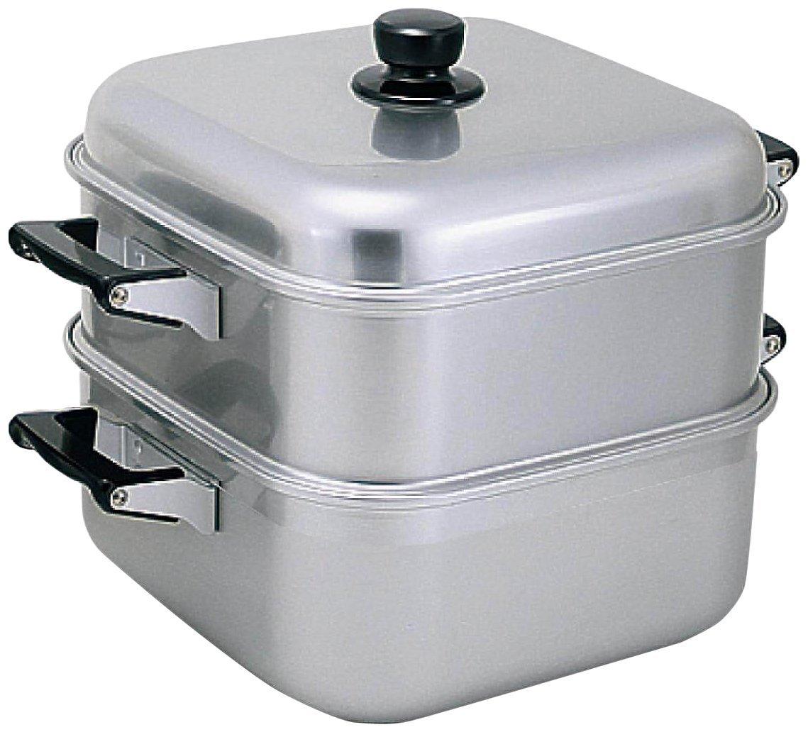 アカオ アルミ 角型蒸器33cm 一重(蒸し器・蒸し鍋)