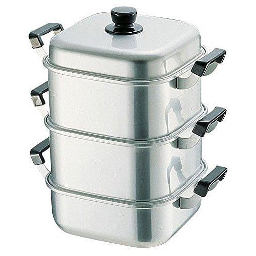アカオ アルミ 角型蒸器28cm 二重(蒸し器・蒸し鍋)