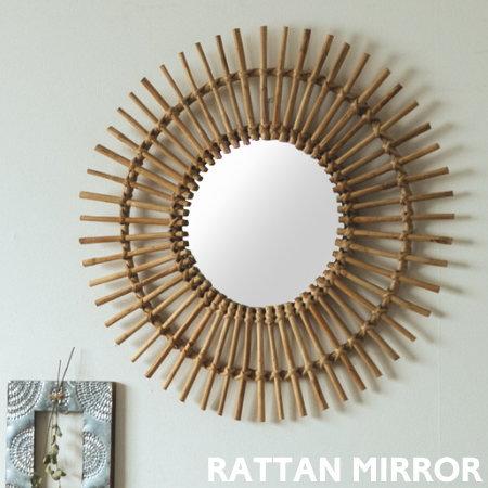 太陽のようなデザインがおしゃれなラタンを使用したウォールミラー ラタンミラー 格安激安 ウォールミラー 鏡 丸型 ウォールデコ ラタン かわいい 壁面 壁面装飾 壁掛け 玄関 ナチュラル おしゃれ チープ リビング