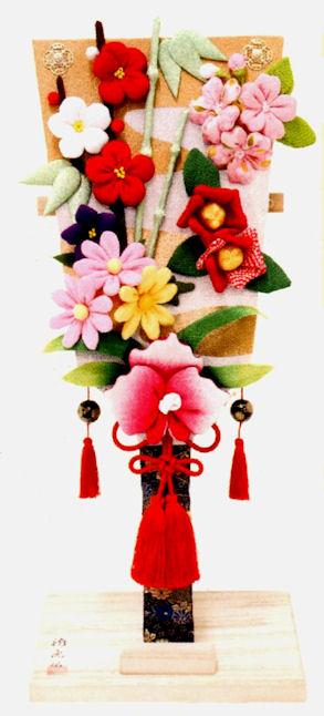 『特大 羽子板花飾り』手作ちりめん細工 迎春・お正月飾り・置物和雑貨 なごみ かわいい リュウコドウ  【送料無料】