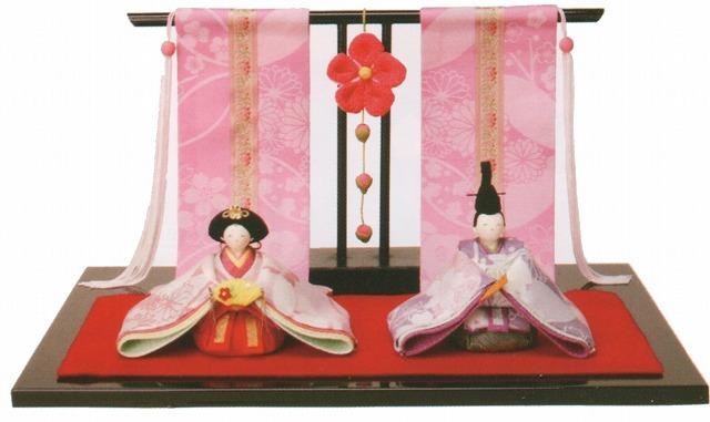 雛人形(ひな人形) ひなまつり 和雑貨 なごみ かわいい和ごころ 花雅雛 桃花几帳付手作りちりめん細工 コンパクト  リュウコドウ ひなまつり