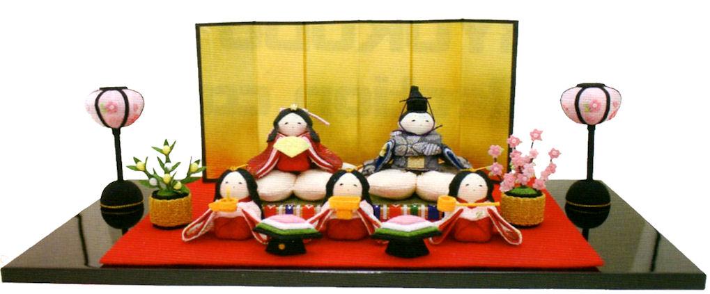 雛人形(ひな人形) 『桜雛5人揃い 屏風付き』手作りちりめん細工 和雑貨 なごみ かわいい  コンパクト  リュウコドウ ひなまつり  【送料無料】