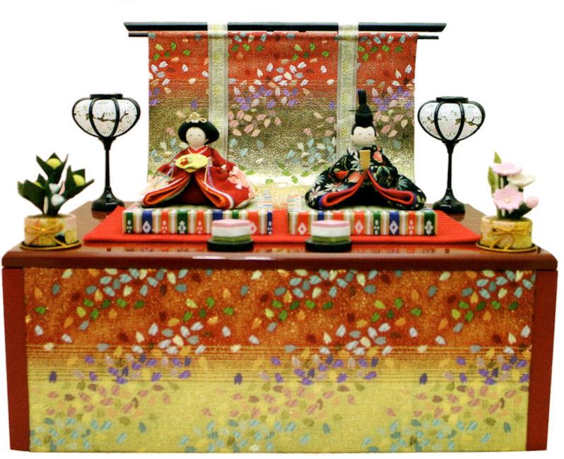 5%OFF クーポン 雛人形 友禅収納飾り雛 几帳付 手作りちりめん細工 和雑貨  コンパクト リュウコドウ ひなまつり 送料無料 出店10周年記念