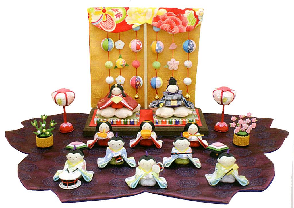 雛人形(ひな人形) 『桜雛 10人揃い 几帳・敷物付き』 手作りちりめん細工 和雑貨 なごみ かわいい  コンパクト  リュウコドウ ひなまつり  【送料無料】