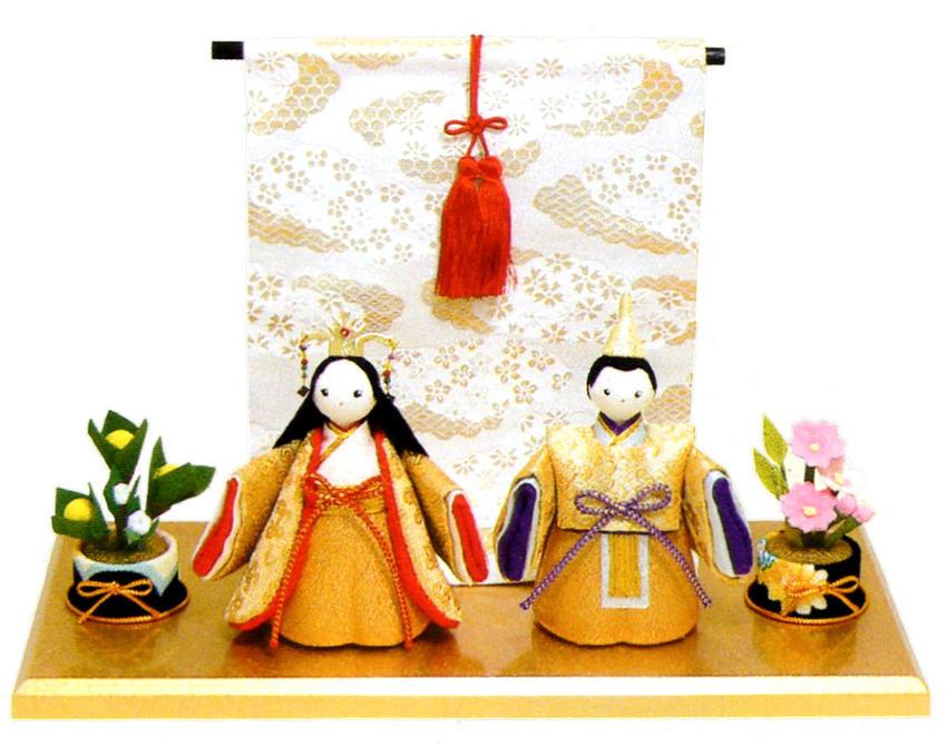 雛人形(ひな人形) 『金色立姿雛』几帳付黄金台セット 手作りちりめん細工 和雑貨 なごみ かわいい  コンパクト  リュウコドウ ひなまつり