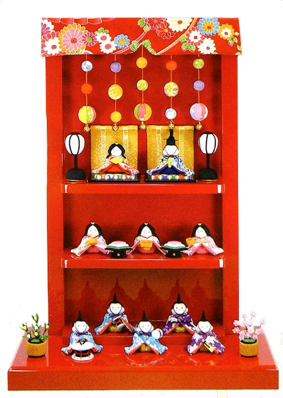 雛人形(ひな人形) 『つるし飾り台 わらべ雛 10人揃い』 手作りちりめん細工 和雑貨 なごみ かわいい  コンパクト  リュウコドウ ひなまつり  【送料無料】