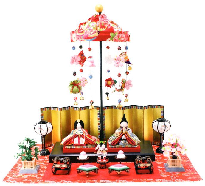 5%OFF クーポン 雛人形 吊し飾り屏風付き 手作りちりめん細工 和雑貨  コンパクト リュウコドウ ひなまつり 送料無料 出店10周年記念