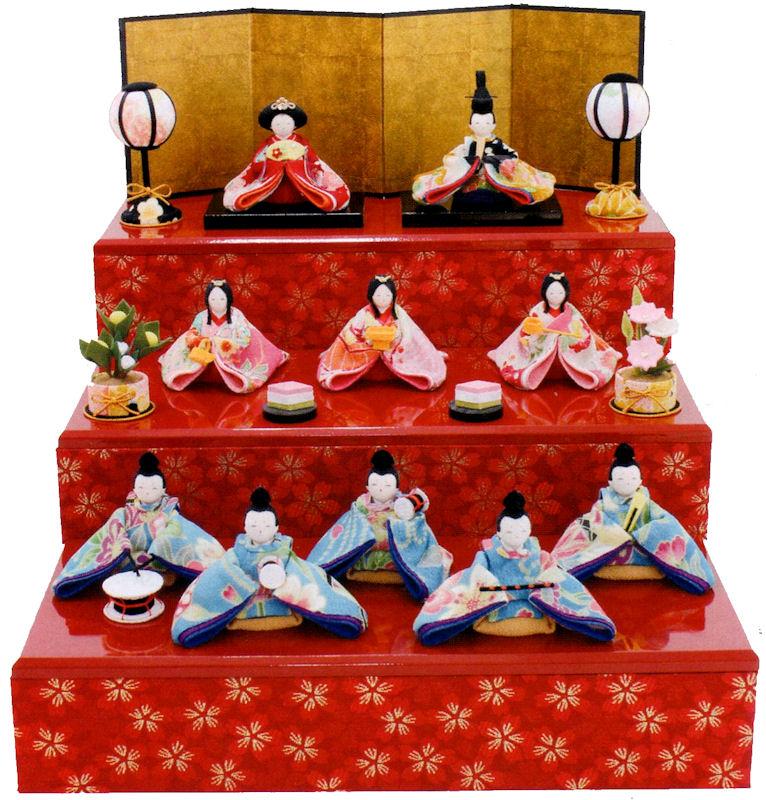 雛人形(ひな人形) 『彩り友禅雛10人揃い』 手作りちりめん細工 和雑貨 なごみ かわいい 収納 コンパクト  リュウコドウ ひなまつり  【送料無料】