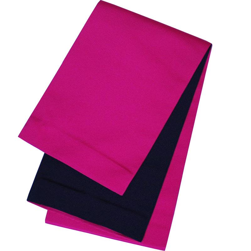 半幅帯 京都 西陣製本袋 浴衣帯 リバーシブル 小袋帯 濃ピンク×黒  レディース 女性用