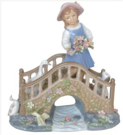 橋を渡る少女(オルゴール付)