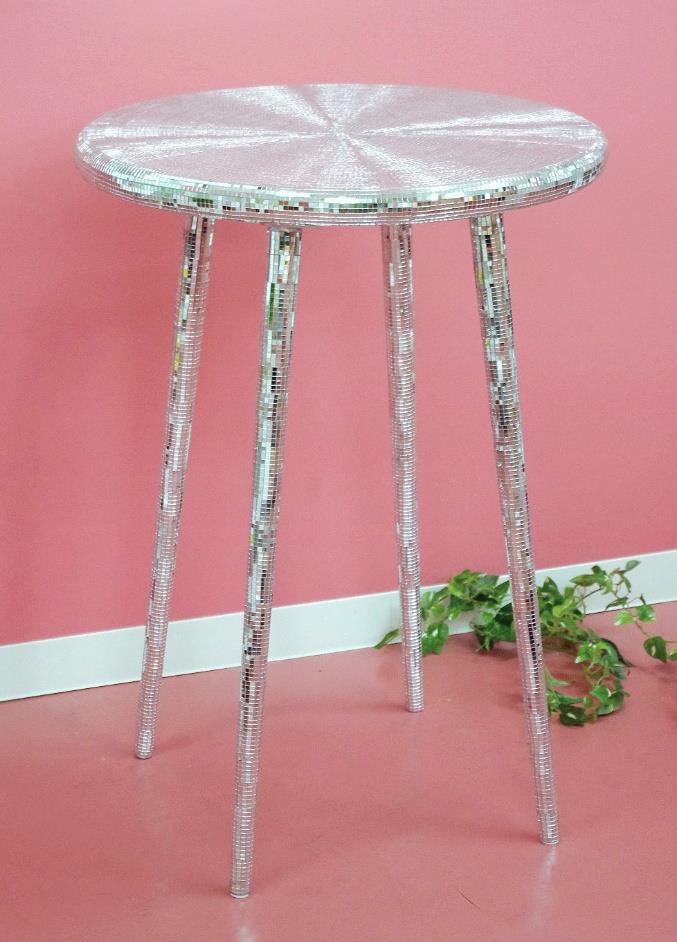 ミラーモザイク脚長テーブル