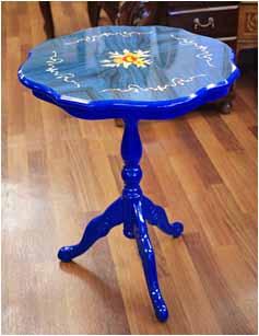 木製コーヒーテーブル(青)