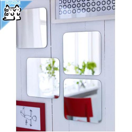 さまざまな取り付け方ができるミラー IKEA Original SORLI -ソールリ- 価格交渉OK送料無料 鏡 20x20 貼り付けタイプ ミラー 4 cm ピース ハイクオリティ