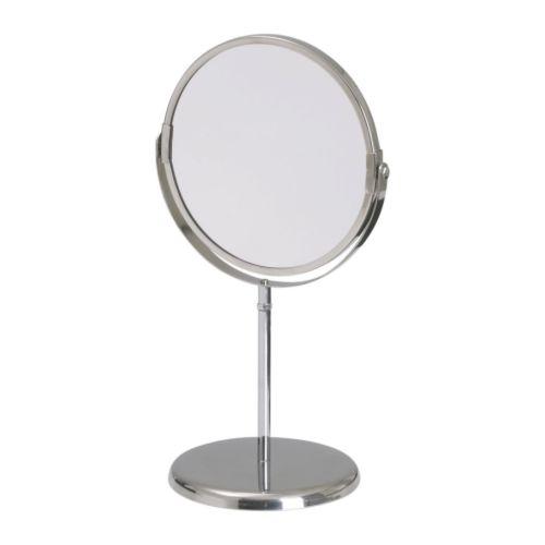 防水仕様なので 湿気の多い場所でも使用できます IKEA Original TRENSUM 好評 ミラー 拡大鏡 -トレンスーム- 片面 [宅送] ステンレススチール