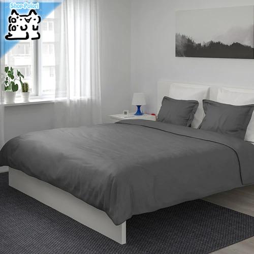 【IKEA Original】LUKTJASMIN 掛け布団カバー&枕カバー(枕カバー2枚)ダブルサイズ用 ダークグレー 200x200/50x60 cm