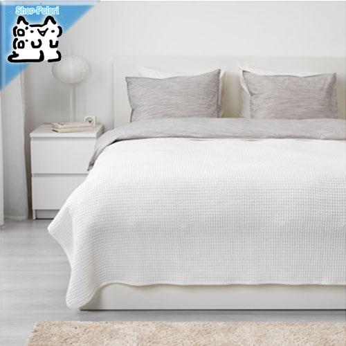 お手入れしやすい綿100% 寝室をオシャレに IKEA Original VARELD -ヴォーレルド- お中元 cm 230x250 ベッドカバー ホワイト ダブルサイズ~キングサイズ用 超人気 専門店
