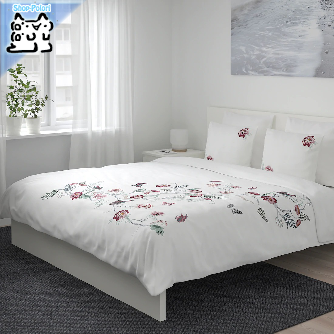 【IKEA Original】JATTELILJA 掛け布団カバー&枕カバー(枕カバー2枚) ホワイト フローラルパターン 200x200/50x60 cm