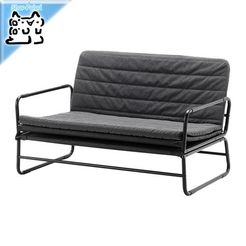 -送料無料-【IKEA Original】HAMMARN ソファベッド クニーサ ダークグレー/ブラック 120cm セミダブルサイズ