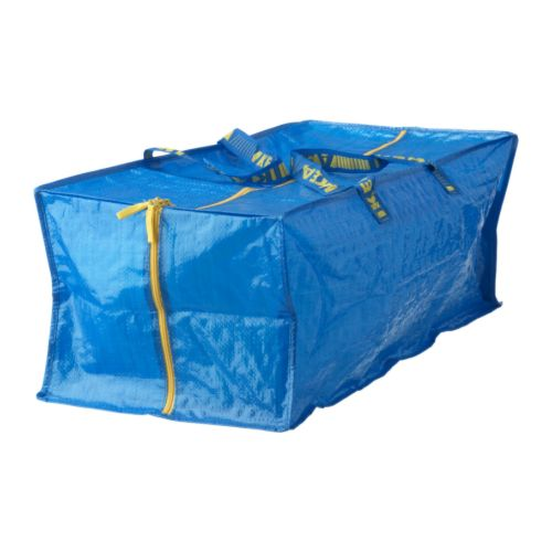丈夫なブルーシート製 お買い物やランドリー袋 大注目 アウトドアなどに便利 IKEA 爆安プライス Original FRAKTA ボストンタイプ l ブルーシートバッグ -フラクタ- 76 キャリーバッグ