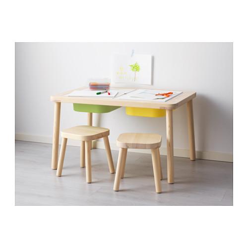 【IKEA Original】ikea おもちゃ 収納 FLISAT 子供用収納付テーブル パイン無垢材 83x58 cm