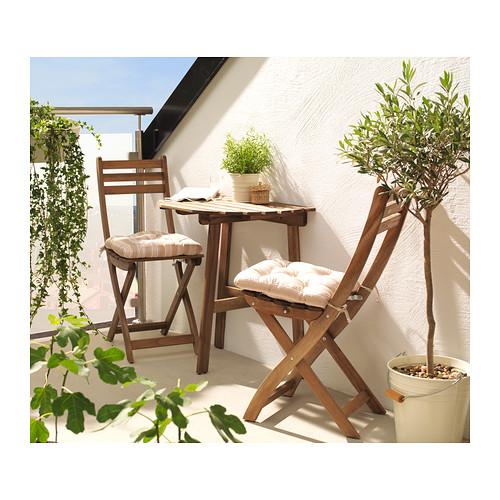 折りたたみなのに座りやすい木製チェア IKEA -イケア- ASKHOLMEN -アスクホルメン- 屋外用 チェア 商舗 グレーブラウンステイン 折りたたみ式 賜物
