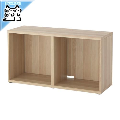-送料無料-【IKEA Original】BESTA シェルフ/テレビ台 フレーム ホワイトステインオーク調 120x40x64 cm