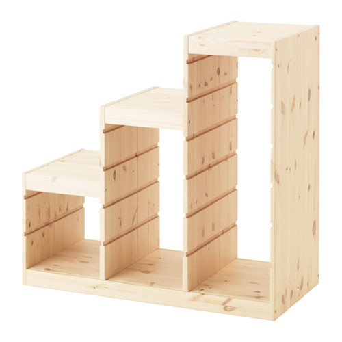 【IKEA Original】TROFAST-トロファスト- 組み合わせ収納 多段フレーム ライトホワイトステインパイン パイン材 94x44x91 cm