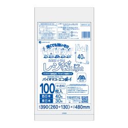 【まとめて10ケース】1冊あたり216円 100枚x40冊x10箱 バイオマスプラスチック使用レジ袋 薄手タイプ ブロック有 西日本40号(東日本30号) BPRHK-40-10 0.013mm厚 半透明/レジ袋 手さげ袋 買い物袋 バイオマス サンキョウプラテック まとめ買い 送料無料