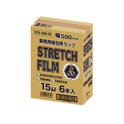 【まとめて3ケース】1本あたり620円 6本x3箱 ストレッチフィルム 500mm幅x300m STR-500-15-3 0.015mm厚 透明/梱包用フィルム 大型ラップ 手巻きタイプ サンキョウプラテック まとめ買い 送料無料 あす楽 13時まで即納