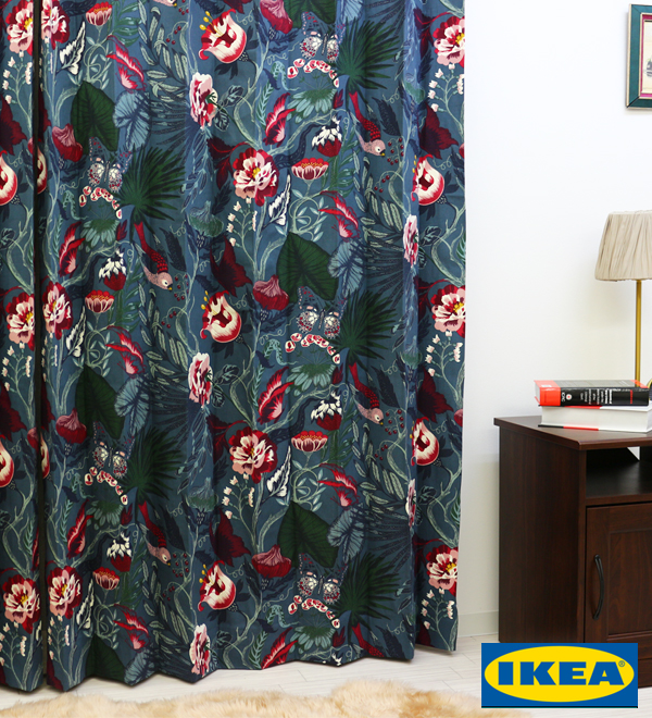 カーテン【IKEA】【100サイズ以上】フィロデンドロン 綿100% 北欧 おしゃれカーテン お花 カラフル ピッタリサイズ 紺色 赤 おしゃれ 日本製 洗える リビング 寝室