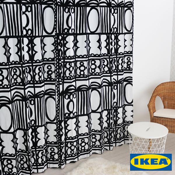 北欧カーテン 【レビーバ】【IKEA】モノクロ 綿100% おしゃれ デザイナーズ 幾何学模様 男性 白黒 モノトーン カフェ シンプル イケア オーダーメイド オーダーカーテン 人気 定番 大きい窓 送料無料