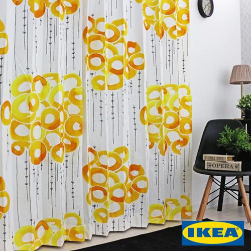 カーテン【ストックホルム】【IKEA】イエロー 綿100% 北欧カーテン おしゃれ ブルックリン 輸入カーテン イケア ピッタリサイズ シンプル 黄色 デザイナーズ モダン かっこいい 人気 定番 大きいサイズ 送料無料
