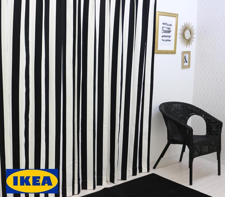 カーテン【人気】【IKEA】ストライプ 綿100% 北欧カーテン おしゃれカーテン ボーダー 白黒 輸入カーテン モノトーン ピッタリサイズ シンプル 目隠し 北欧 ノルディック 男性 店舗 オーダーメイド 送料無料